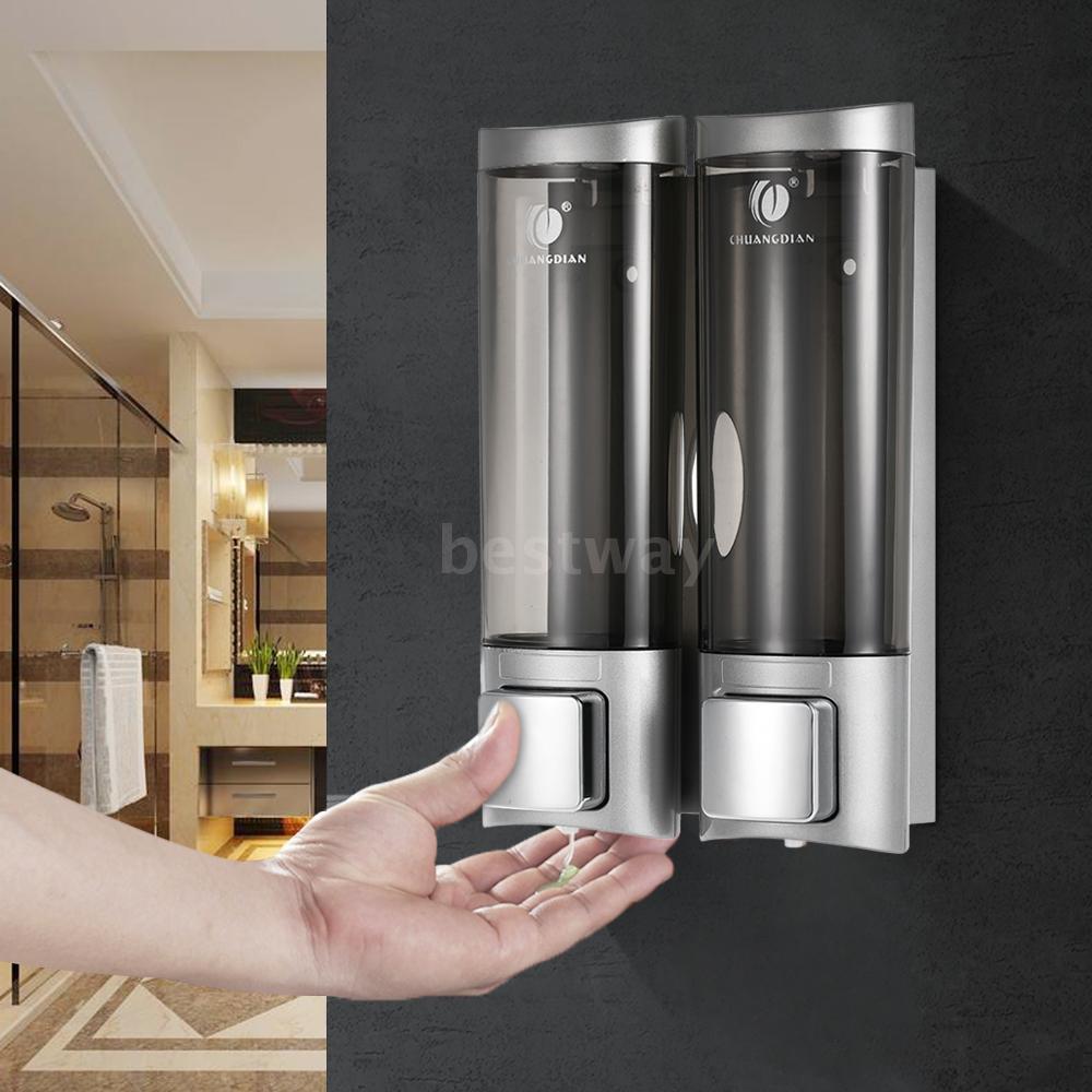 500ML Wall Mount Bathroom Soap Shower Round Shampoo Bottle Dispenser Hole