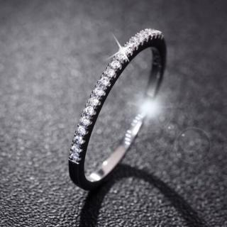 Fashion Couple Silver Ring Single Row Diamond Ring