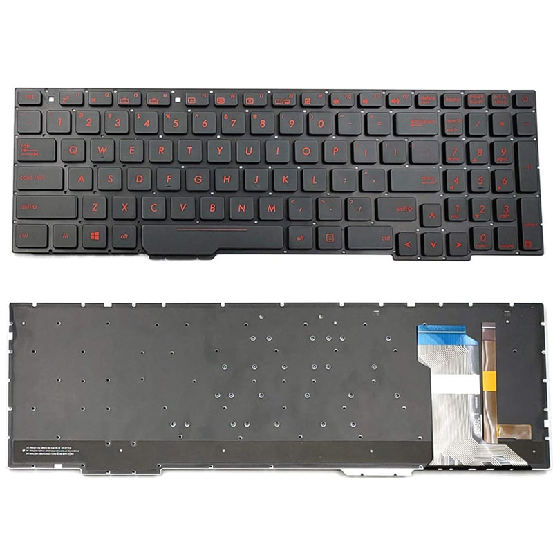 English Laptop Replacement Keyboard for Asus GL553 Series GL553V GL553VW ZX553VD ZX53V FX553VD US Layout with Backlight