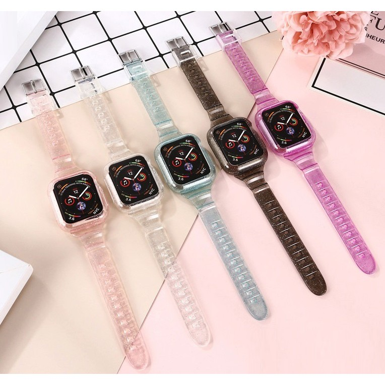 Apple Watch Strap 38mm/40mm/42mm/44mm Soft Silicone Transparent Watch Band for iWatch Series 6/5/4/3/2/1, Apple Watch SE Watch band Shinning Clear Watch Straps