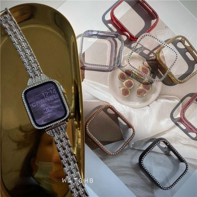 △☞เคส Apple Watch มิลลิเมตรสําหรับ เคสนาฬิกาข้อมือสไตล์หรูหรา iwatch series 6/5/4/3/2/1, SE ชิ้น Applewatch Case