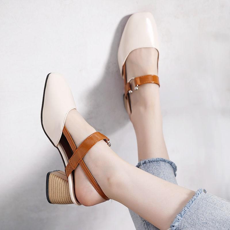 【   รองเท้าแตะ】รองเท้าส้นสูงสำหรับเด็กผู้หญิงส้นหนารองเท้าคัชชูส้นเตี้ยสไตล์เกาหลี