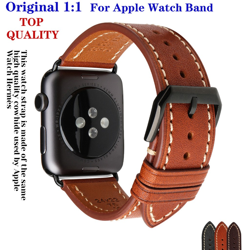 Top Quality Watch Band For Apple Watch 44mm 40mm 42mm 38mm Series 6 SE 5 4 3 Bracelet Leather Strap For iWatch Accessori