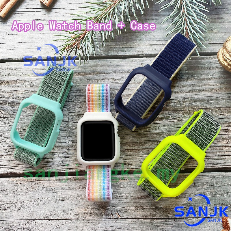 ( Strap + Case ) สายไนล่อนสําหรับ Apple Watch Series 6 5 4 3 2 1