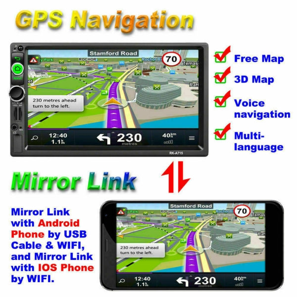 "7/"" Quad Core Android 7.1 Car Stereo MP5 Player GPS Navi RDS AM//FM Radio BT WIFI"
