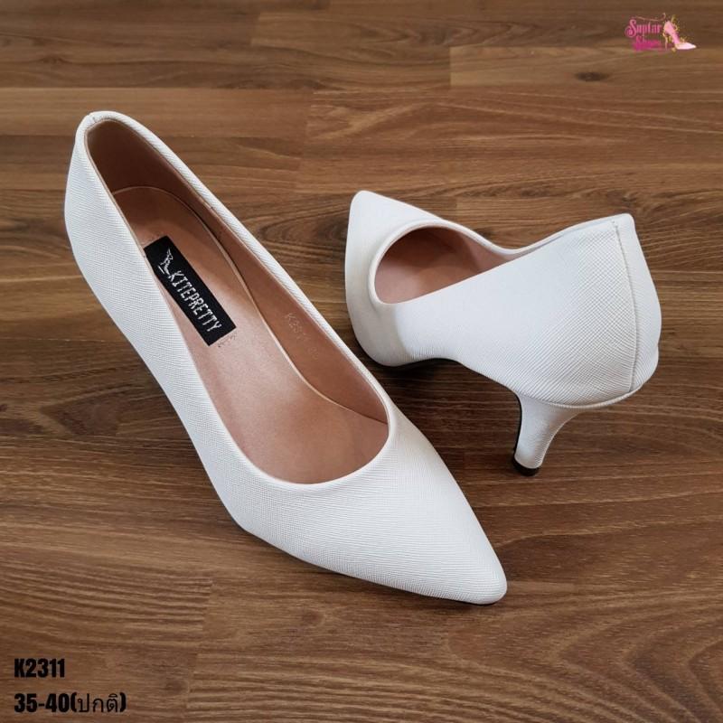 รองเท้าคัชชู รองเท้าส้นสูง รองเท้าหุ้มส้น หัวแหลม หนัง PU สีขาว