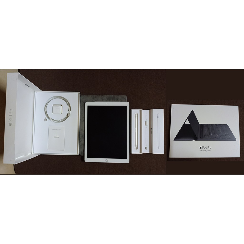 ขายยกเซ็ต iPad Pro 12.9 มือสอง สี Silver 128GB Wi-Fi+Cellular พร้อม Apple Pencil และ Smart Keyboard อุปกรณ์แท้ กล่องครบ