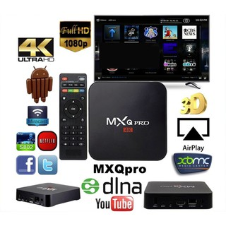 buybuytech กล่องทีวี Smart Android TV Box 1080P Full HD Media Player Quad Core MXQ Ram1G,Rom 8G