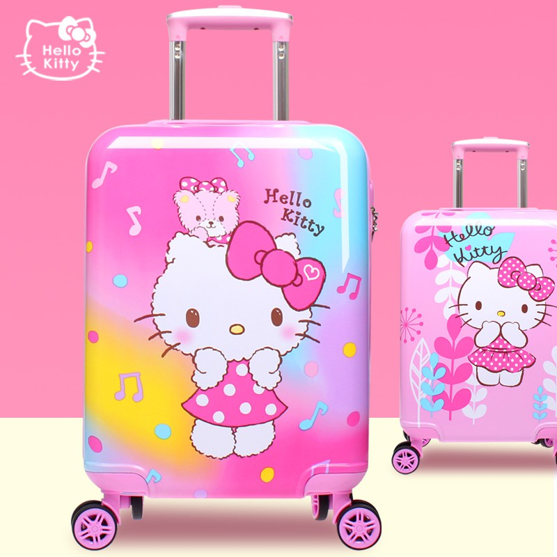 ●ⅽ กระเป๋ารถเข็นเดินทาง กระเป๋าเดินทางพกพา กระเป๋าเดินทางเด็ก hellokitty กระเป๋าเดินทางเจ้าหญิง 18 นิ้วนั่งรถเข็นล้อสากล