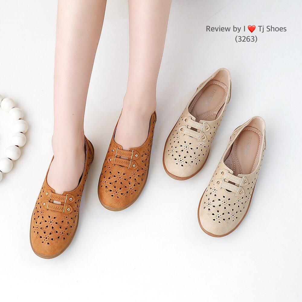 ไซส์36-41 รองเท้าเพื่อสุขภาพผู้หญิง Tj Shoes 3263 นุ่มเบาใส่สบาย หนังนิ่ม คัชชู ลำลองหุ้มส้น น้ำหนักเบา ผ้าใบ ไซส์พิเศษ