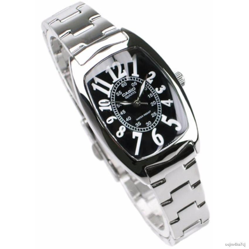 【สินค้าเฉพาะจุด】☢▣Casio นาฬิกาข้อมือผู้หญิง สายสแตนเลส รุ่น LTP-1208D-1B - Silver/Black   รับประกันศูนย์ 1 ปี   ของแท้