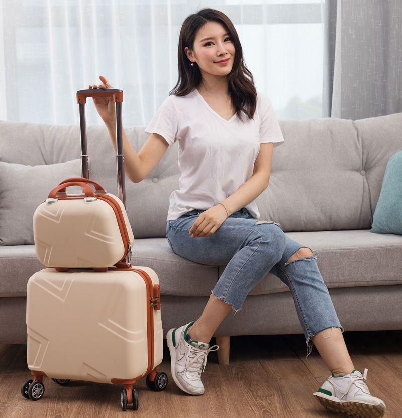 กระเป๋าเดินทางล้อลาก CODกระเป๋าเดินทางขนาดเล็กของผู้หญิง14รถเข็นขนาดเล็กของผู้ชาย16นิ้วรหัสผ่านการเดินทางกล่องน้ำหนักเบา