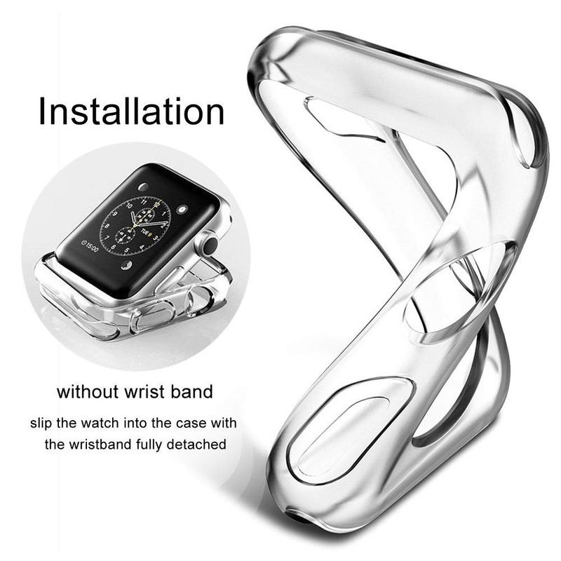 Case for Apple Watch Series 6 se 5 4 3 2 Soft TPU All-Around Clear Screen Protector Cover Protective Case 38mm 42mm 40mm 44mm