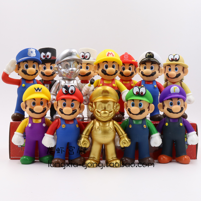 ฟิกเกอร์การ์ตูนอนิเมะนำเข้าSurrounding the Game Super Mario Garage Kit Model Decoration Odyssey Mario Louis Gold Figure