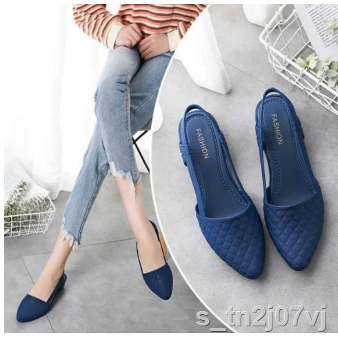 รองเท้าแฟชั่นผู้หญิง☌SALE รองเท้าคัชชู หัวแหลม ยางนิ่มไม่กัดเท้าผู้หญิง