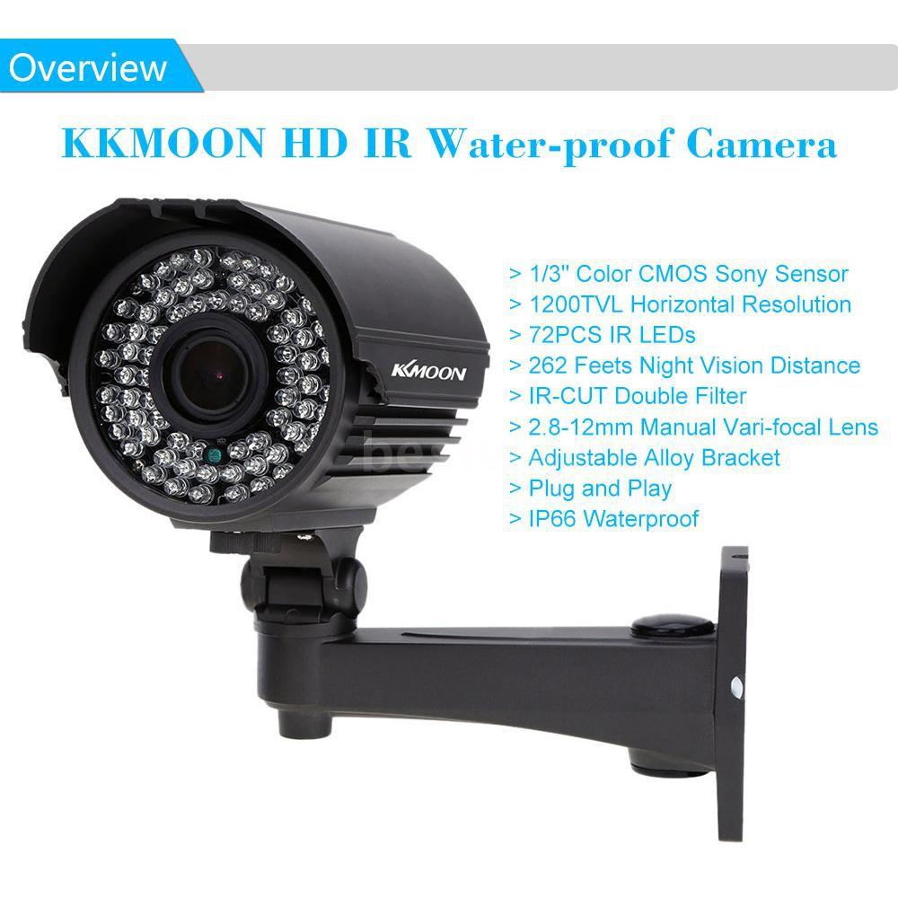 KKmoon 1200TVL Waterproof Bullet CCTV Camera 2.8-12mm Vari-Focal Lens 72*IR LEDs