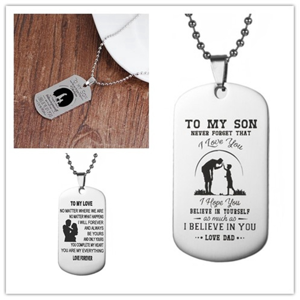 Dad Son Pendant To My Son Never Forget That I Love You Dog Tag Necklace Gifts
