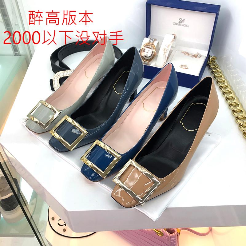 รองเท้าคัชชูหัวแหลมส้นสูง(ใส่ใจกับรุ่นและคุณภาพ)RVรองเท้าผู้หญิงหัวเข็มขัดตารางรองเท้าเดียวหนังด้านล่างหนากับรองเท้าส้นส