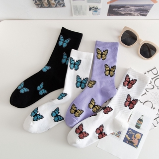 2021 Trend Butterfly Pattern Socks Purple Female Ins Korean Style Women Cotton Socks Streetwear Harajuku Hip-Hop Crew Socks