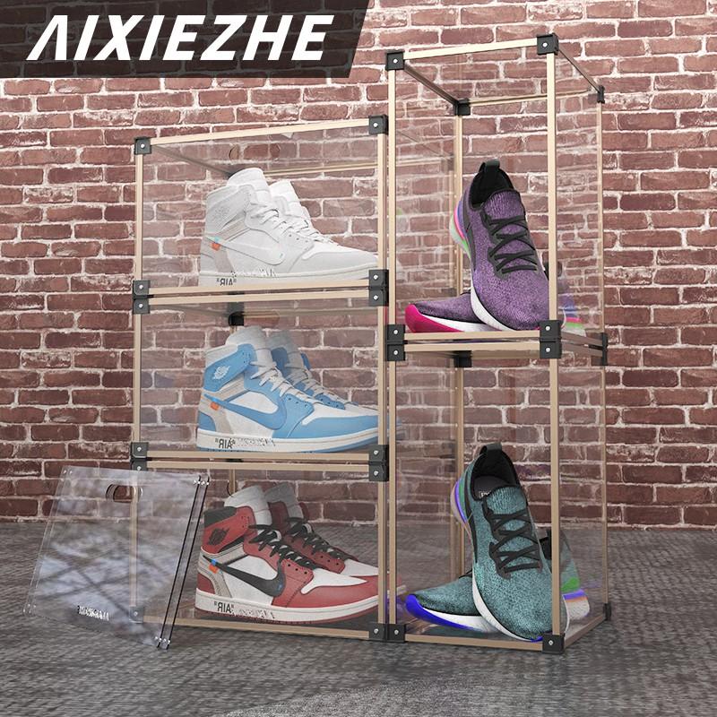 ❇㍿♀คนรักรองเท้าอะคริลิค aj รองเท้าผ้าใบกล่องเก็บรองเท้ากล่องใสด้านข้างแบบเปิดแสดงตู้รองเท้ากันฝุ่นผนังน้ำ