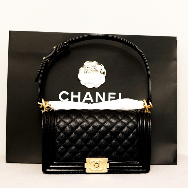 "CHANEL BOY MEDIUM 10"" CAVIAR HOLO 27XXXXX"