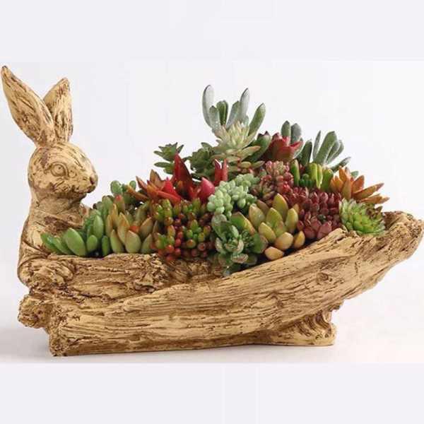 กระถางดอกไม้ กระต่ายขนาดใหญ่เลียนแบบไม้เดิมพันรากแกะสลักพืชอวบน้ำกระถางดอกไม้ไม่เซรามิคขายส่งพิเศษ Clearancecod