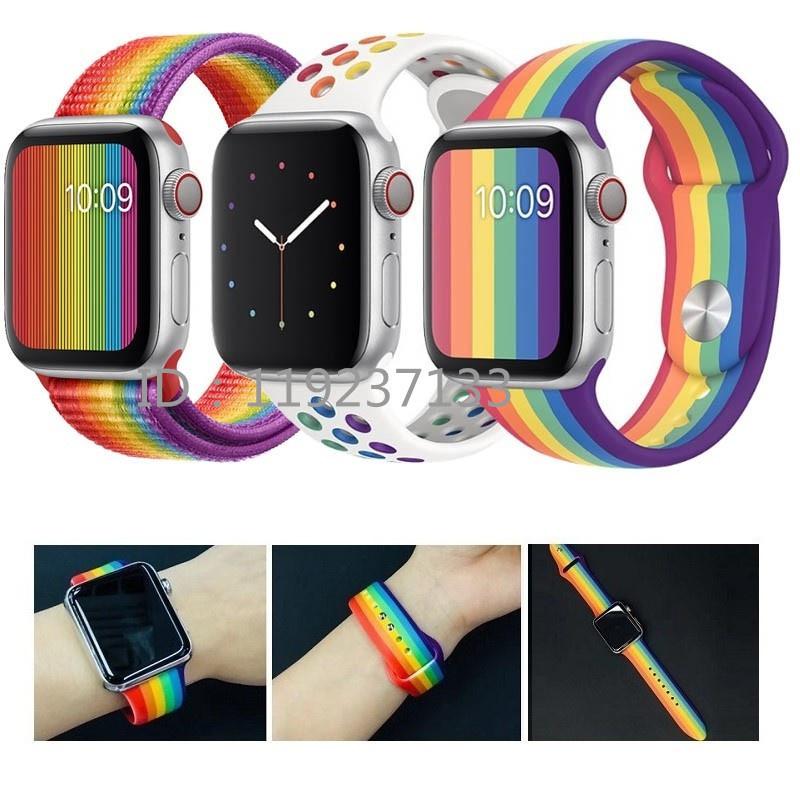 สาย applewatch สายนาฬิกา applewatch สาย Apple Watch Strap 38/40 มม. 42/44 มม. สายสีรุ้งสำหรับ iWatch Series SE 6/5/4/3/2