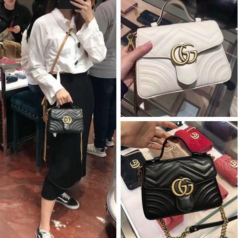 [ML]ของแท้ใหม่เอี่ยม GUCCI 498110 GG Marmont matelassé top handle bag handbag shoulder bag