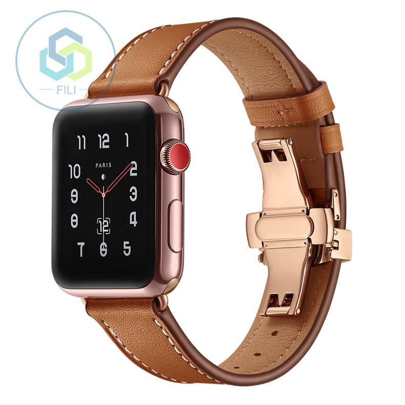 AppleWatch หนังแท้สายนาฬิกา Apple Series1234 ทั่วไปสายหนัง IWatch สายรัดข้อมือ W5lP