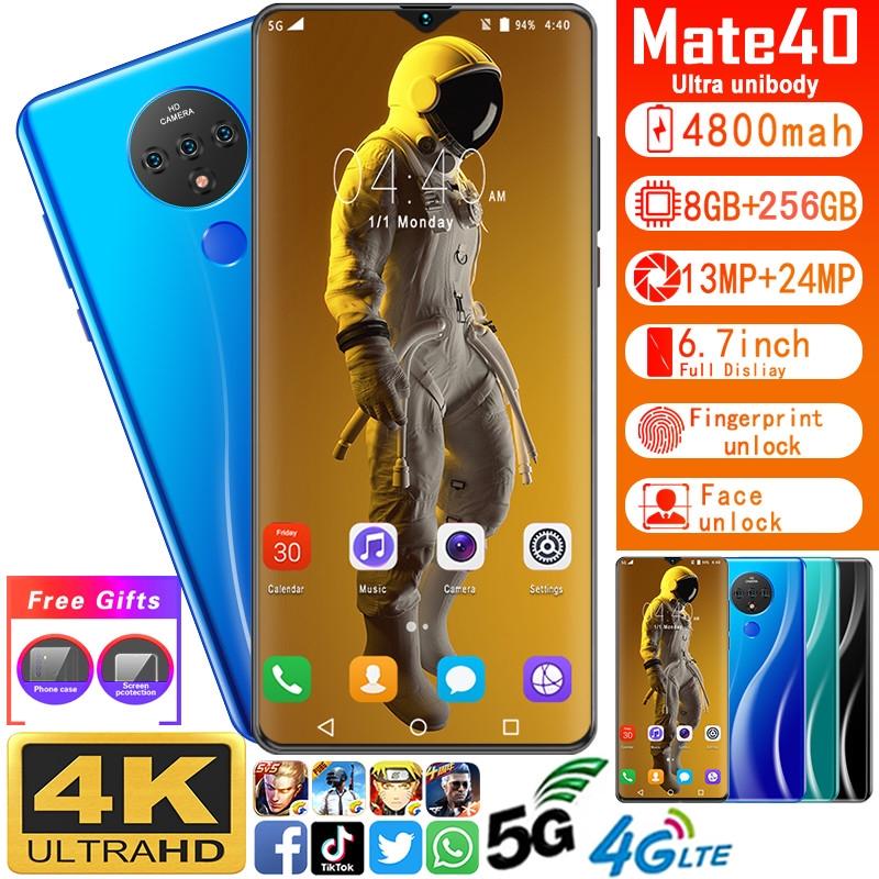 สมาร์ทโฟน 4 G/5 G Lte 8gb Ram+256 Gb รอม Telefon Bimit 6 . 7 นิ้ว