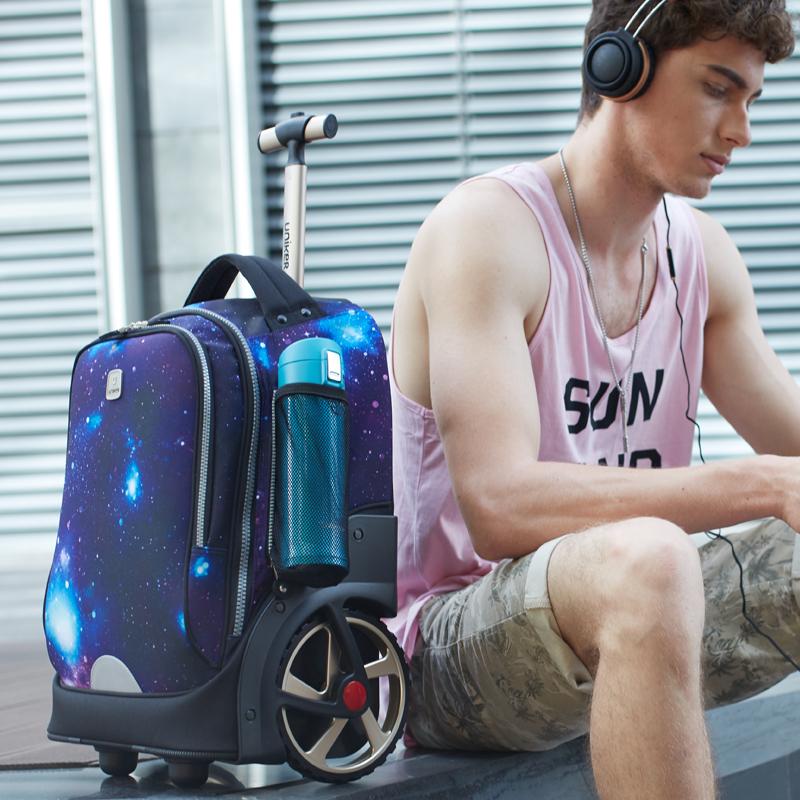 ☺⅕ กระเป๋าเดินทางล้อลาก กระเป๋าเดินทางล้อลากใบเล็กUNIKERนักเรียนมัธยมรถเข็นกระเป๋าปีนเขาล้อขนาดใหญ่ชายและหญิงโรงเรียนประ