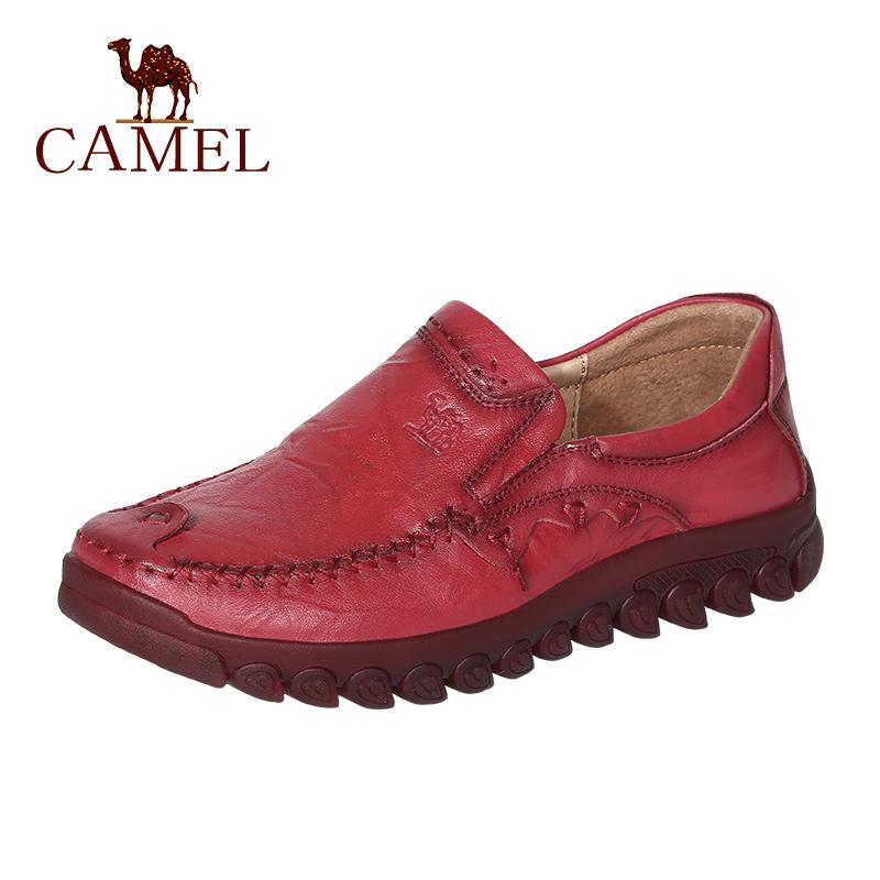 ♖✡✨ รองเท้าผู้หญิงCAMEL/CAMELฤดูใบไม้ร่วงปี2020หนังแท้ใหม่รองเท้าลำลองOxfordรองเท้าแม่แบนรองเท้าคัชชูใส่สบาย ✨