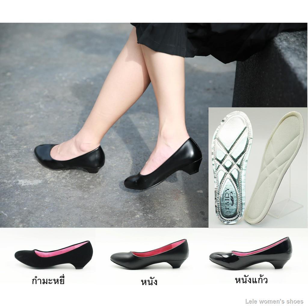 รองเท้า รองเท้าคัชชูนักศึกษา รองเท้าส้นสูง รองเท้าคัชชูสีดำ 1.5 นิ้ว