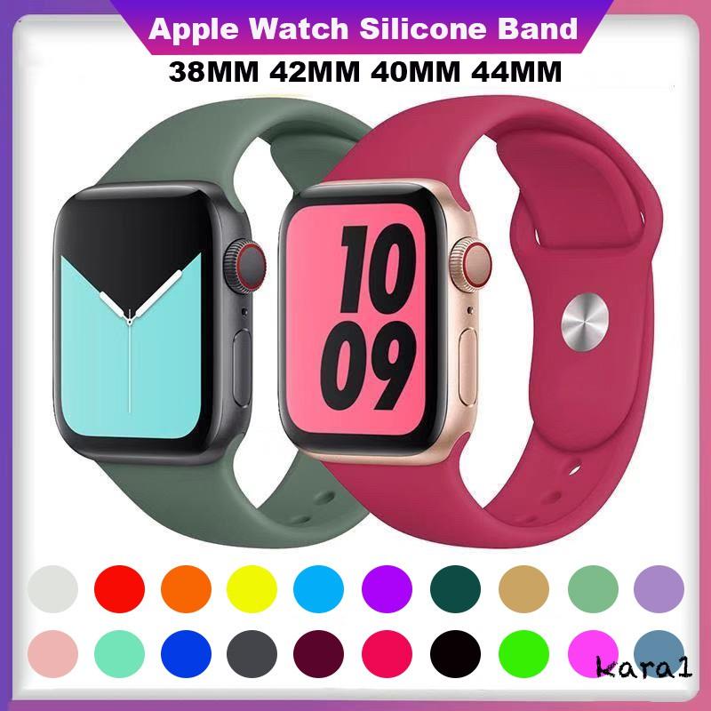 สาย Apple Watch สายยางซิลิโคนแบบนิ่มสำหรับ iwatch 38mm 40mm 42mm 44mm สายแบบ Sport Band สำหรับ Apple Watch Series 6/SE/5/4/3/2/1 ทุกรุ่น