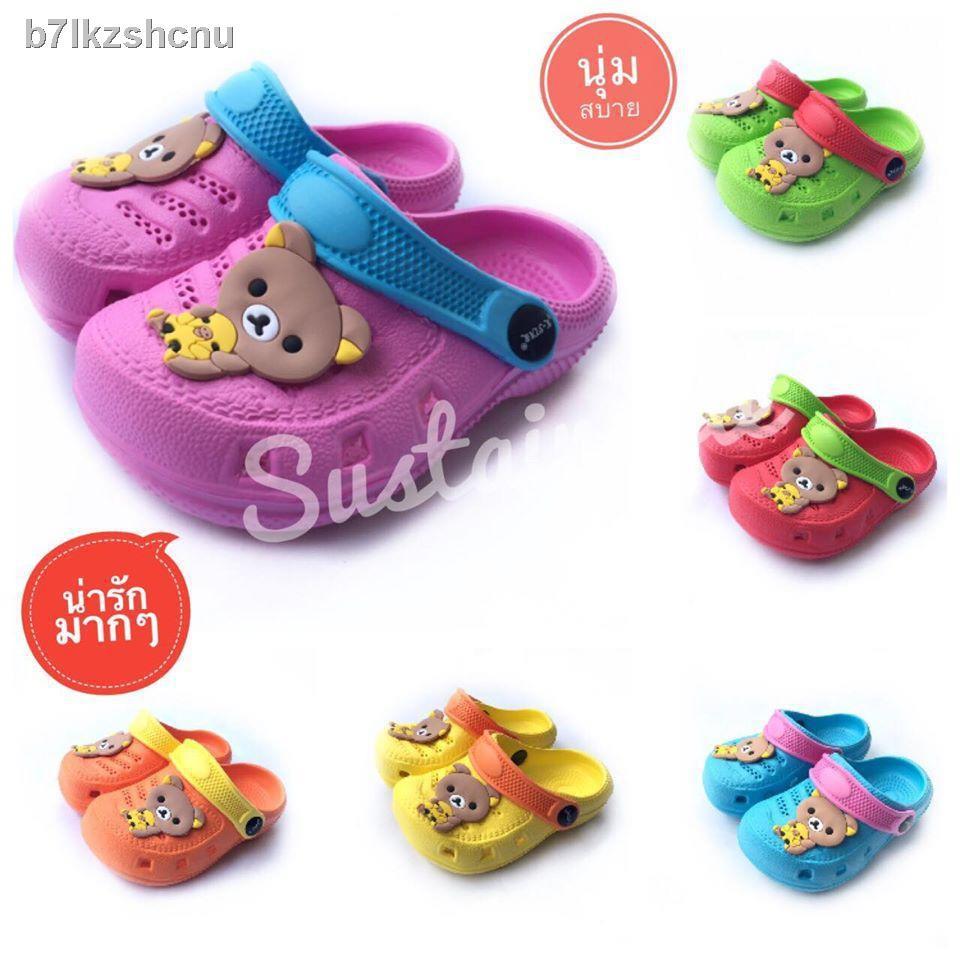 🔥【fashion】🔥☫┋♀รองเท้าแบบยั่งยืนปลายเท้าเด็กสไตล์ Rilakkuma ลายหมีรองเท้าแตะเด็กรองเท้าปิดเท้าเด็กรองเท้าคัชชูเด็ก
