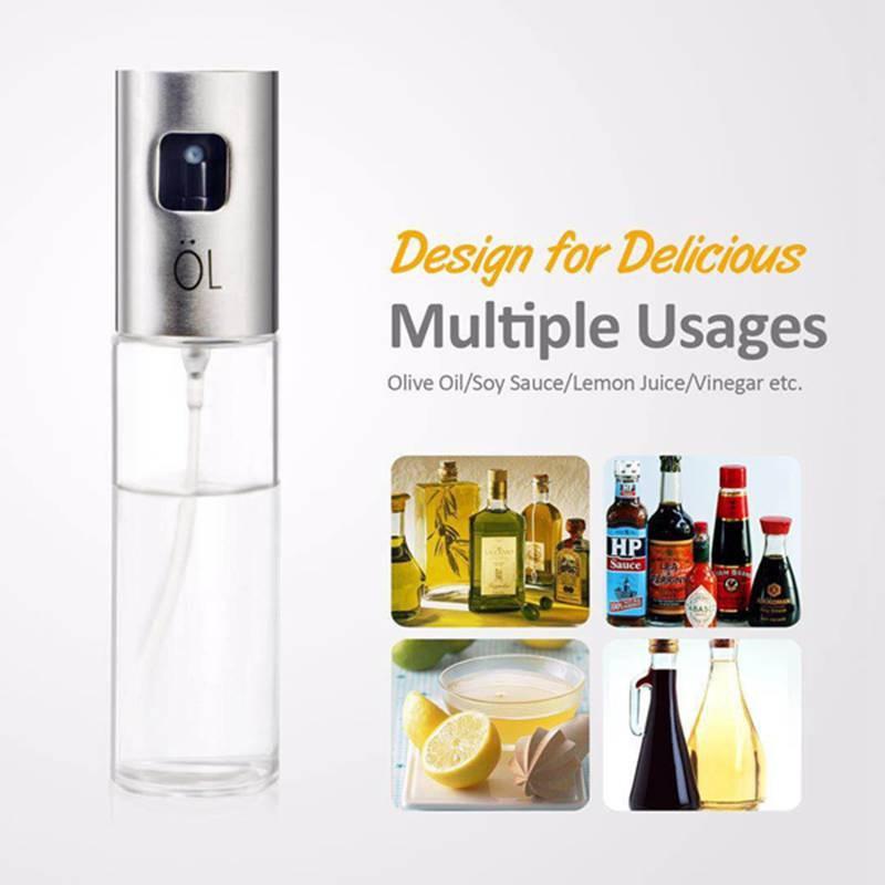 Portable Olive Oil Sprayer Dispenser for Cooking/BBQ/Salad/Stainless Steel  Grilling Oil glass Bottle