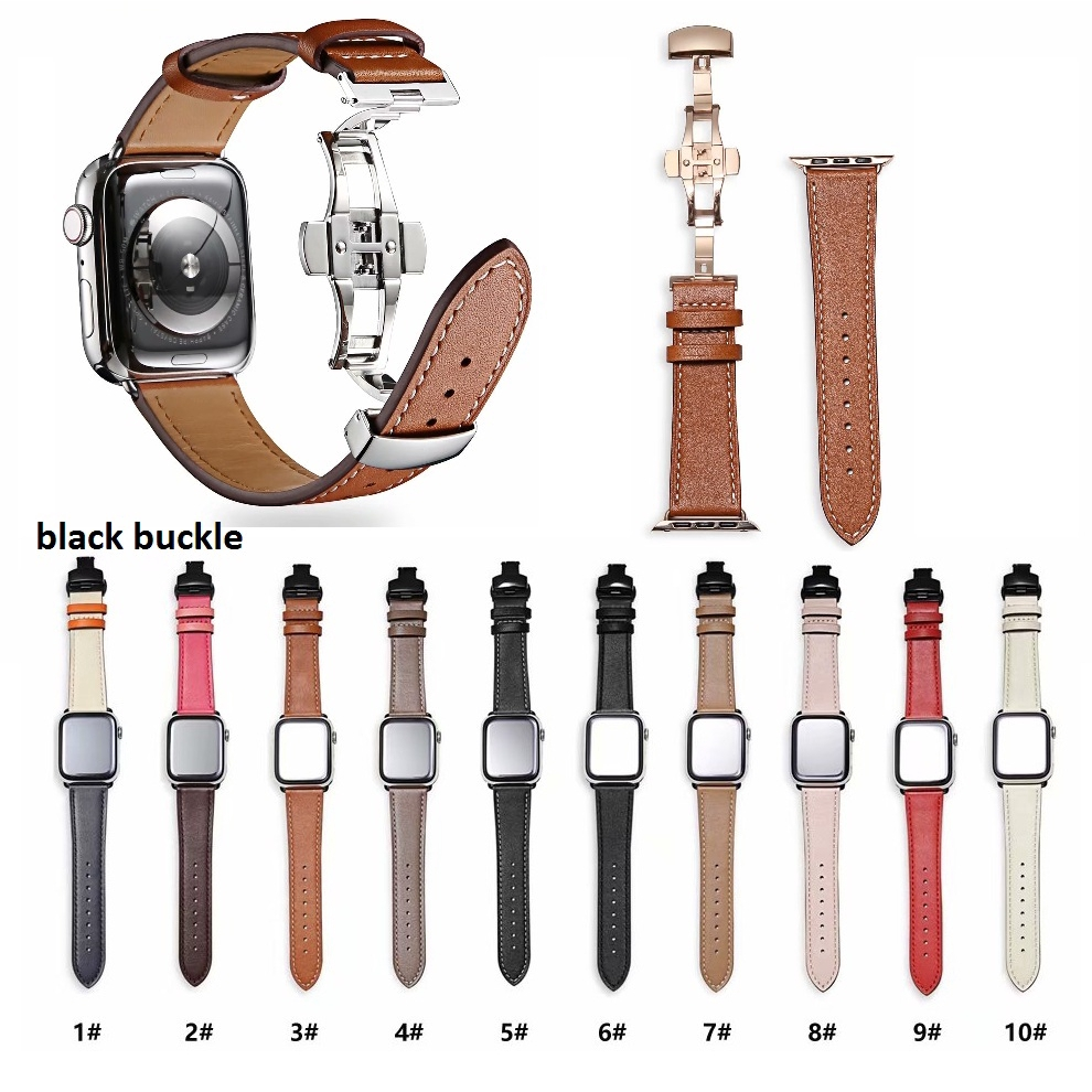 【Apple Watch Strap】สายนาฬิกาข้อมือสายหนังสําหรับ Apple Watch Series 6 se 5 4 3 2 1 42 มม . 44 มม .