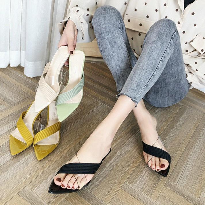 รองเท้าส้นสูง หัวแหลม ส้นเข็ม ใส่สบาย New Fshion รองเท้าคัชชูหัวแหลม  รองเท้าแฟชั่นรองเท้าแตะและรองเท้าแตะสำหรับผู้หญิงท