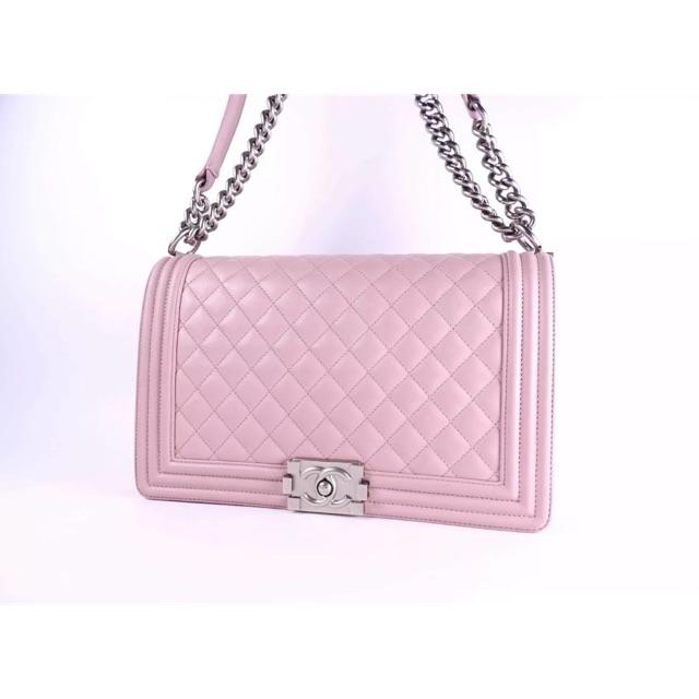 CHANEL Boy Chanel Matelasse Large Chain Shoulder Bag Lamb Skin Pink