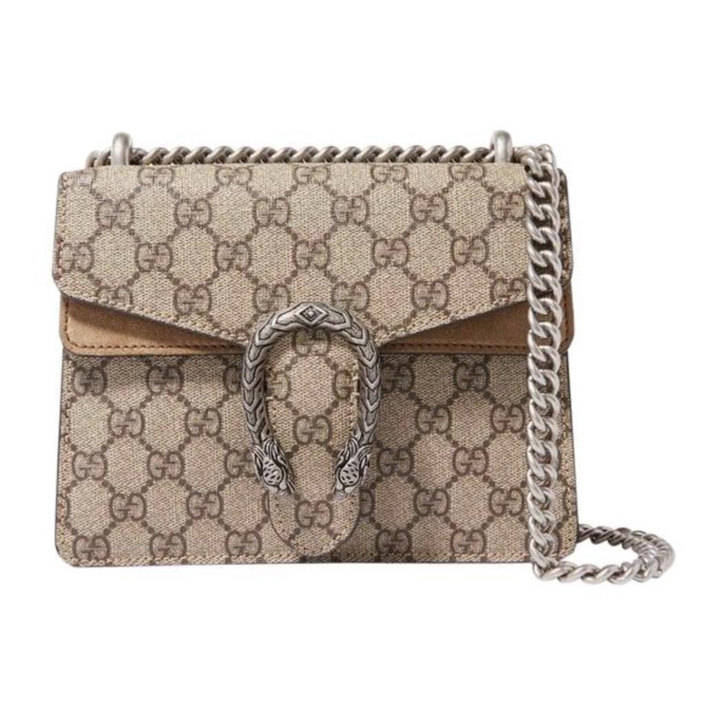 แบรนด์แท้100%Gucci Dionysus Mini Brown Gg Supreme Canvas Shoulder Bag