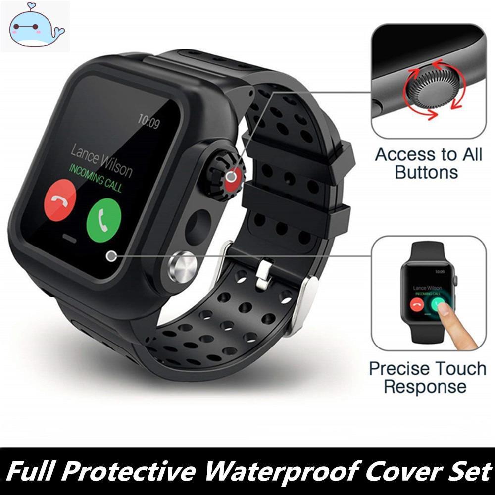 เคสนาฬิกาข้อมือซิลิโคนกันน้ําสําหรับ Iwatch Series 5 4 3 2 Case+สายซิลิโคน Apple Watch Band 38/42mm 40/