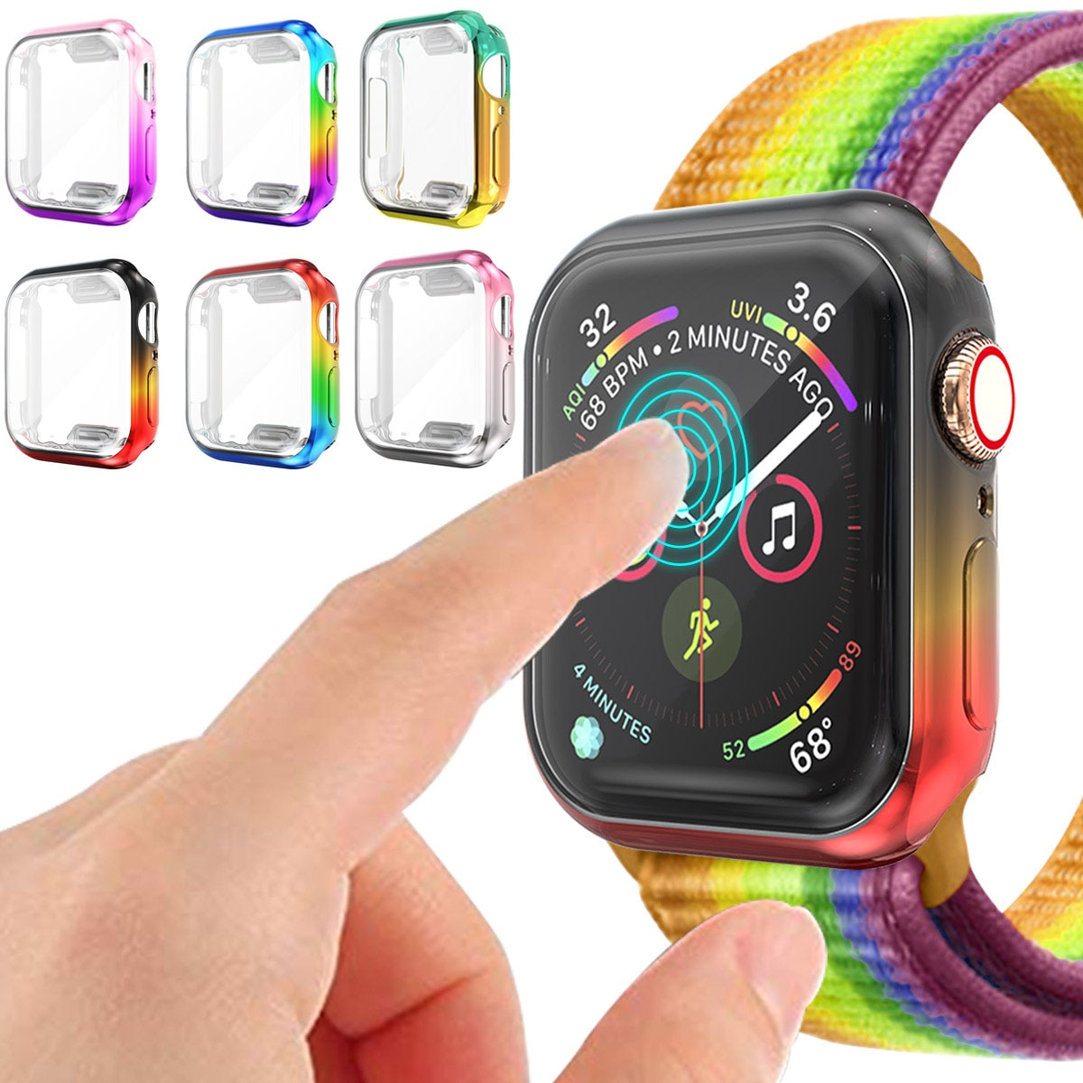 Colorful Watch Cover Screen Protector Case for Apple Watch 5 4 3 2 1 Full Protector Case For iWatch 42MM 38MM 44MM 40MM Shell【Exquisite strap】