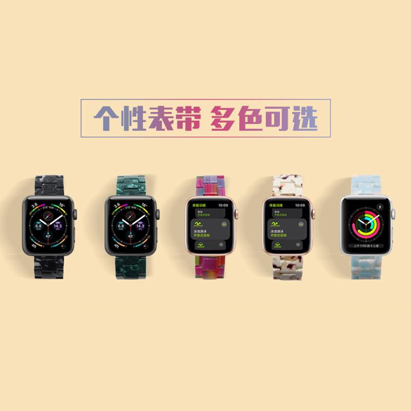 สายนาฬิกาข้อมือเรซิ่นสีใสสําหรับ Applewatch 6 / 5 3 / 4 / Se