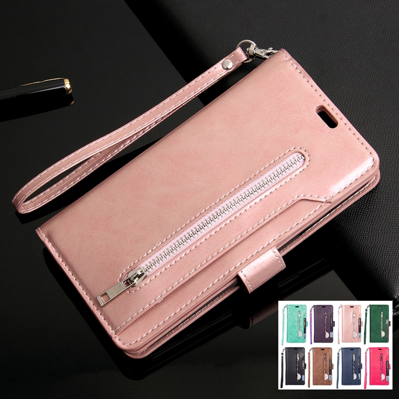 Samsung Note10 Pro 10+9 8 A7 A6Protective Casing Sleeve Retro Zipper Flip Wallet Leather Cover Case 71Ax