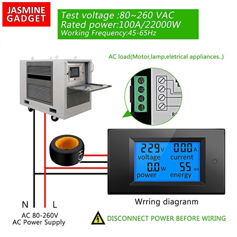 [รุ่นใหม่ Open CT Coil ติดตั้งง่าย] Watt meter มิเตอร์วัดไฟ 4 in 1 กระแส AC  100A Voltage Current Watt Energy PZEM-061
