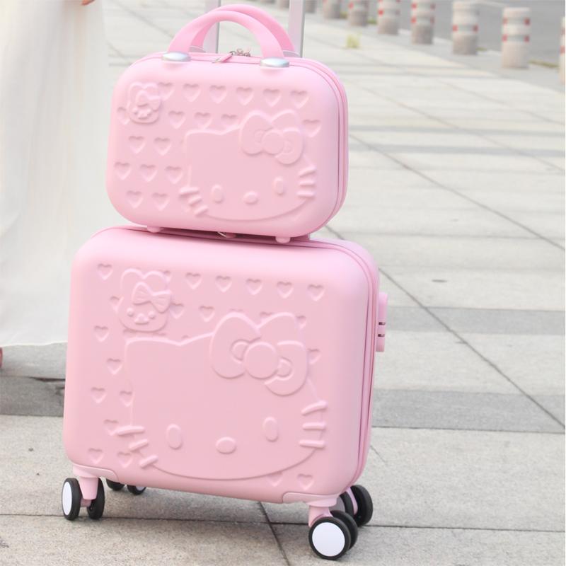 ょⅽกระเป๋าเดินทาง Hello Kitty กระเป๋าล้อลากหญิงขนาด 16 นิ้วเกาหลีเล็กเด็กน่ารักมินิกระเป๋าถือกระเป๋าเดินทาง