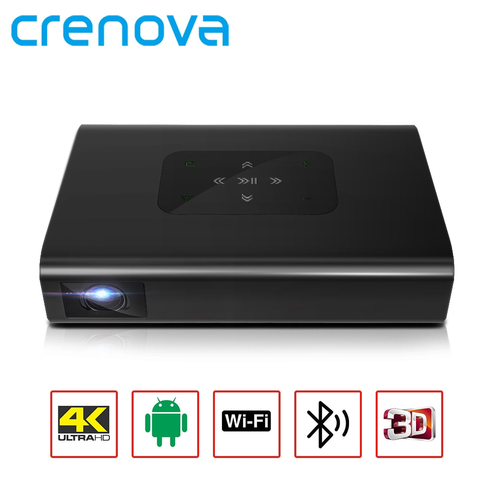 CRENOVA  DLP MINI Portable Projector X5 4K Android WIFI 3D 10500mAH Battery 300inch 1080P Video Projector Smart TV Laser