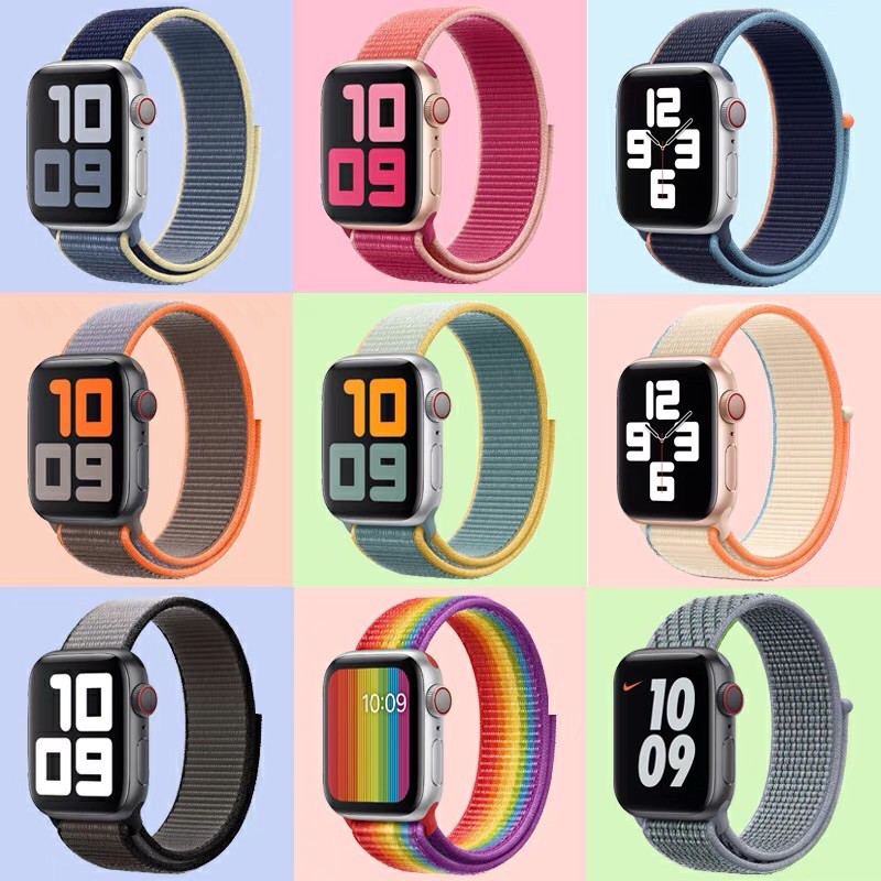 สาย สำหรับ Applewatch sport loop สายผ้าไนลอน สายสำหรับApplewatch  watch 1/2/3/4/5/6 38mm 40mm 42mm 44mm สายแอปเปิ้ลวอช