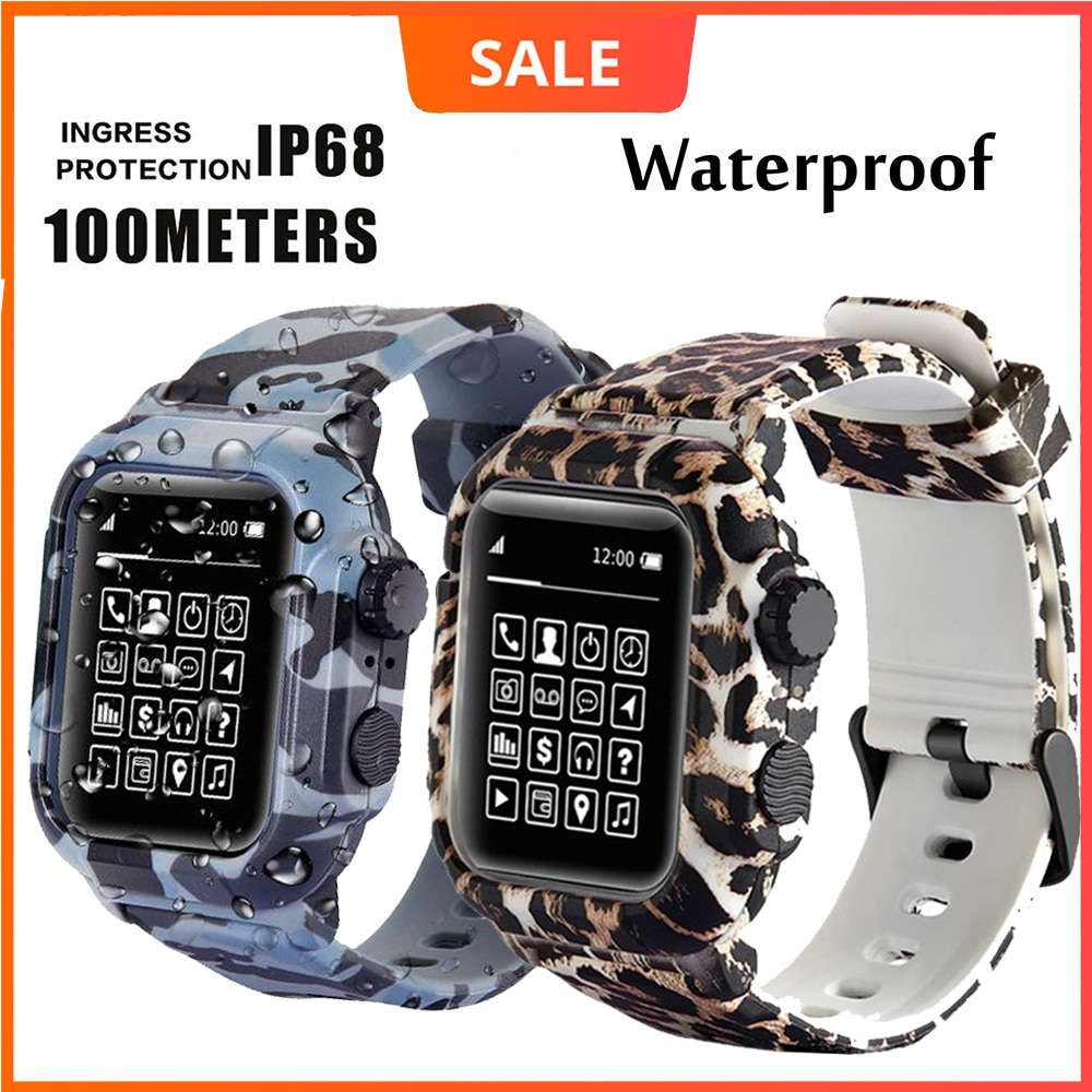 Dive Waterproof Sports Band Case Cover for Apple Watch Case Series 6 5 4 3 2 Silicone Band 44mm 42mm 40mm Strap Shockpro