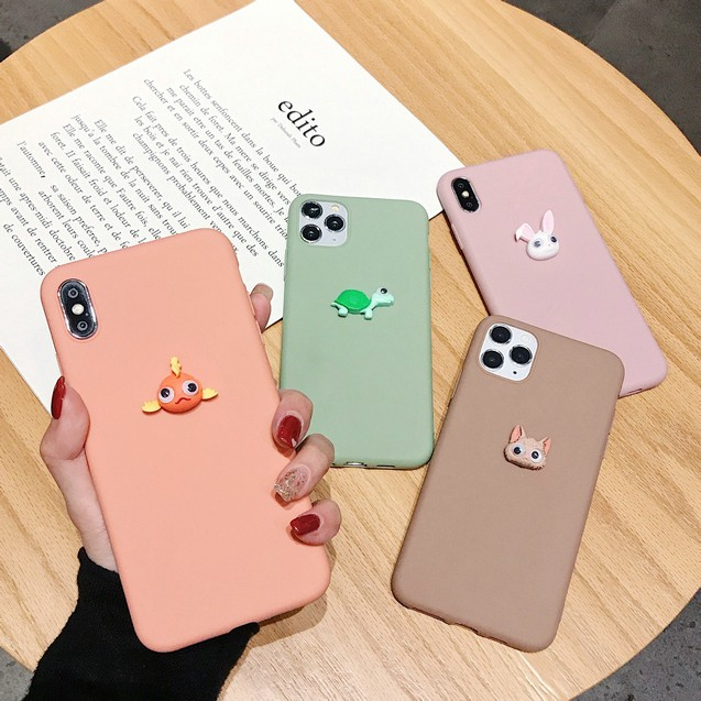 เคส Samsung J8 J7 J6 J6+ J4 J4+ A21S A02S A9 A7 A6 A6+ Plus Pro Prime 2018 Candy solid color Cute Animals soft case (ตาจะเปิด)